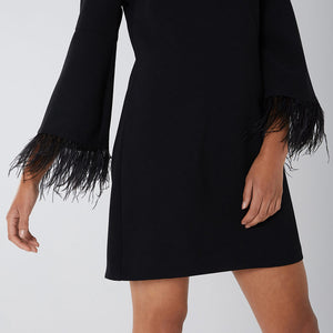Black Frills Sleeves Midi Dress