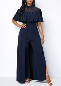 Ruffle Overlay Zipper Back High Waist Jumpsuit