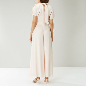 Off White Tie Up Neck Jumpsuit