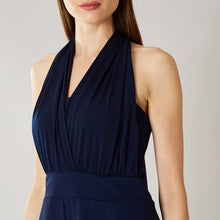Navy Blue Halter 3/4th Jumpsuit