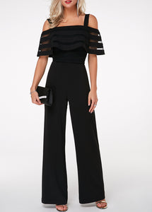 Strappy Cold Shoulder Overlay Embellished Black Jumpsuit