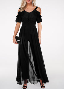 Black Cold Shoulder Layered Sleeves Jumpsuit
