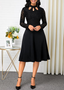 Lace Patchwork Long Sleeve Black Dress