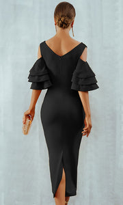 Black Enchantment V Neck Ruffles Sleeves Bodycon Dress