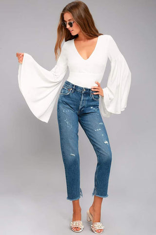 White Bell Sleeves Tie Up Top