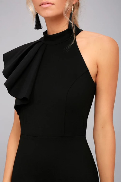 Margaux Black One-Shoulder Maxi Dress