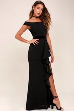 Ballroom Bound Black Off-the-Shoulder Maxi Dress