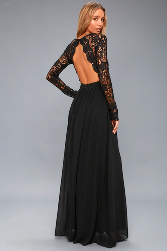 Awaken My Love Black Long Sleeve Lace Maxi Dress