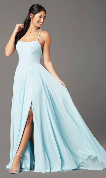 Long Square-Neck Formal Prom Dress