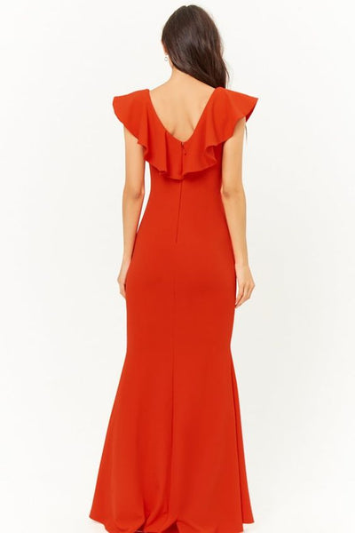 RED FRILLED GEORGETTE SLIT MAXI GOWN