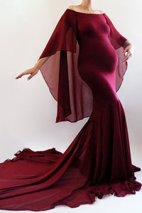 GLORIA Maternity Dress Fitted Maxi Dress with Cape, Long Maternity Gown, Maxi Maternity Dress for Photoshoot Fitted Dress & Chiffon Skirt
