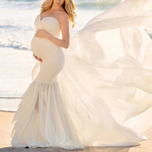 Maternity Solid Color Strapless Photo Dress