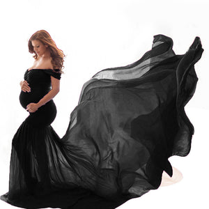 Maternity Multicolor Off Shoulder Long Photo Dress