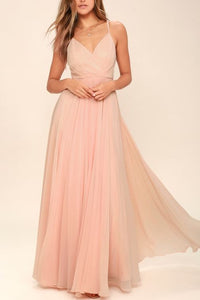Ruched Detail Peach Flared Maxi Dress