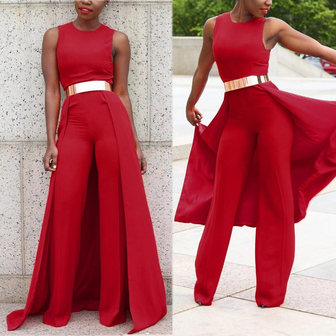Red Sleeveless Pants with Skirt