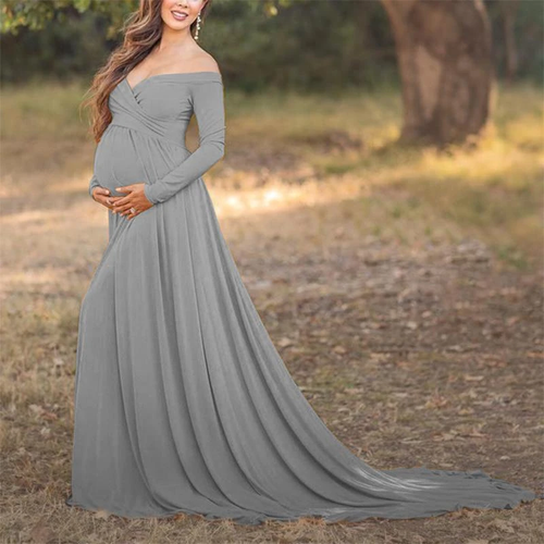 Maternity Off Shoulder Long Sleeve Floor-Length Gorgeous Dress