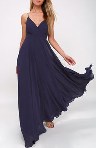 Ruched Detail Flared Navy Maxi Dress