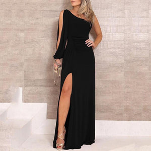 Black One Shoulder Slit Maxi Dress