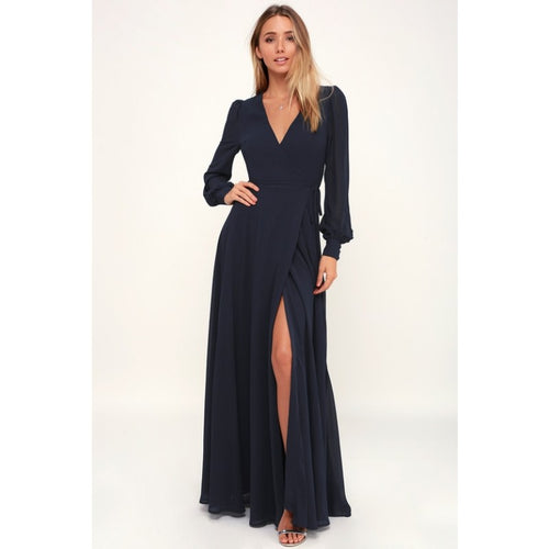 Navy Puffer Sleeves Front Slit Georgette Overlap Dress