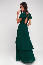 Pour the Champagne Emerald Green Ruffled Backless Maxi Dress