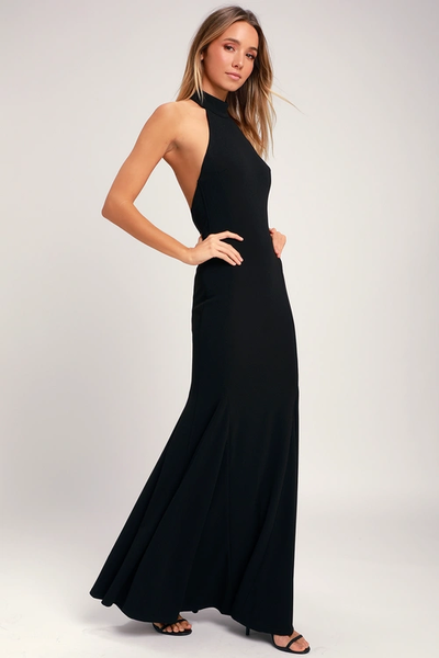 Slice of Joy Black Halter Maxi Dress