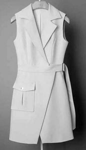 WHITE POLY BLEND SLEEVELESS COAT DRESS