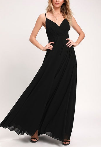 Ruched Detail Flared Black Maxi Dress