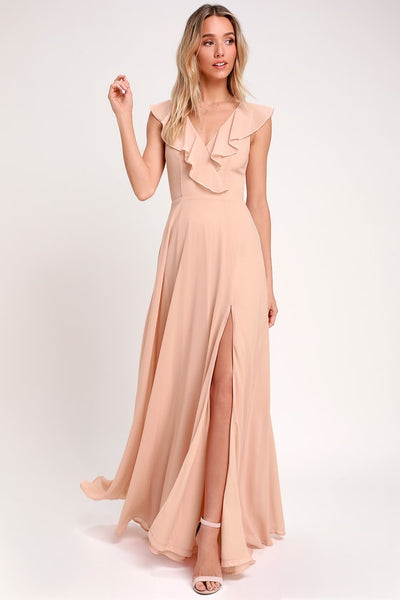 Peach Ruffled Backless Strapped Dress