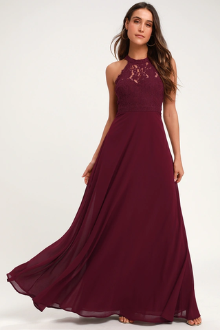Dance All Evening Burgundy Lace Maxi Dress