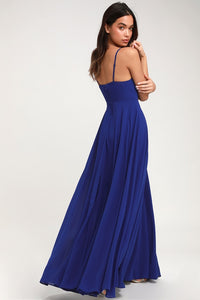 Ruched Detail Royal Blue Flared Maxi Dress