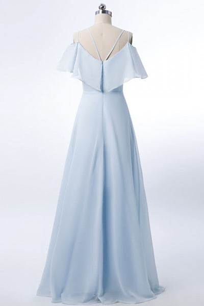 Double Spaghetti Straps V Neck Georgette Bridesmaid Dress with Flouncing Top