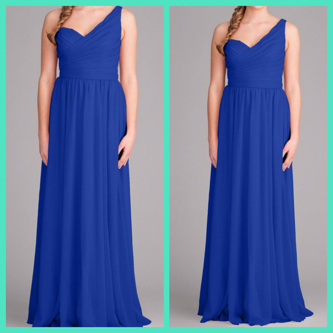 Royal Blue One Shoulder Sweetheart Neck Maxi Gown
