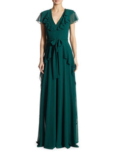 Badgley Mischka Green Ruffled Georgette Gown