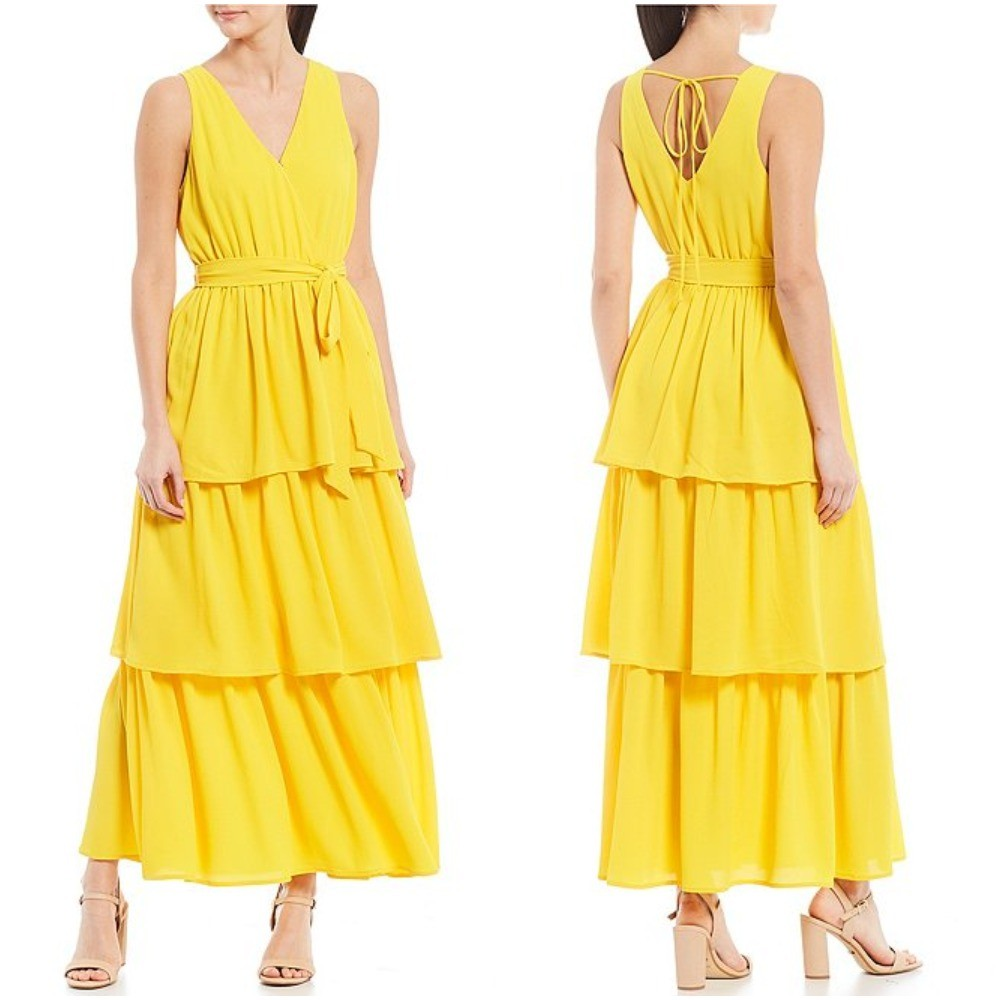 Sunshine Yellow Triple Layered Maxi Dress