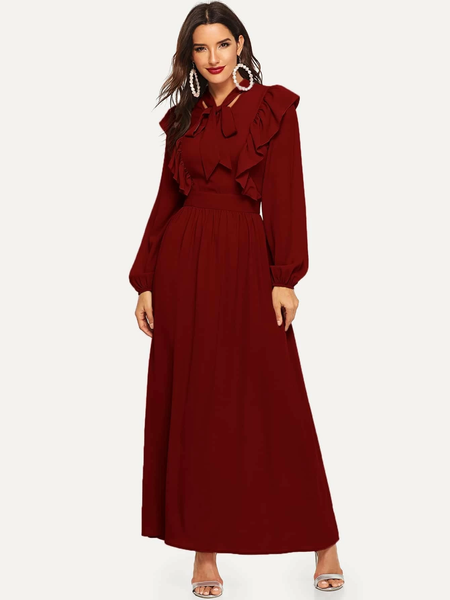 Tie Neck Fit & Flare Maroon Ruffle One Piece Dress