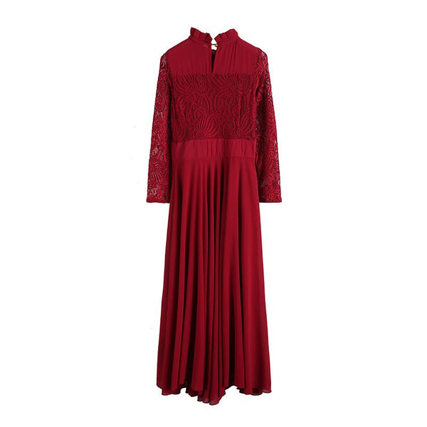 Charming Long Lace Sleeves Pleated Chiffon Long Red Maxi Dress
