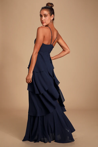 Anitra Navy Blue Ruffled Sleeveless Maxi Dress
