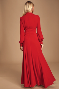 Noura Red Mock Neck Long Sleeve Maxi Dress