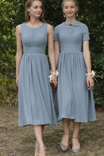 Grey Knotted Neck Short Sleeve Chiffon A Line Bridesmaid Dress