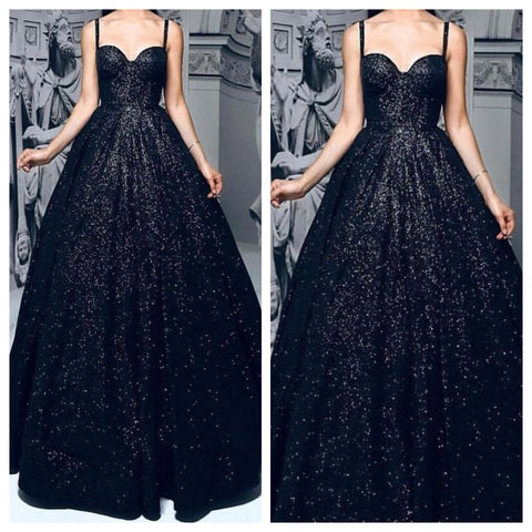 Black Sequins Ballroom Gown