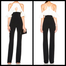 Cold Shoulder White and Black Slim Jumpsuit