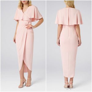 Baby Pink Cape Sleeves Maxi Slit Dress