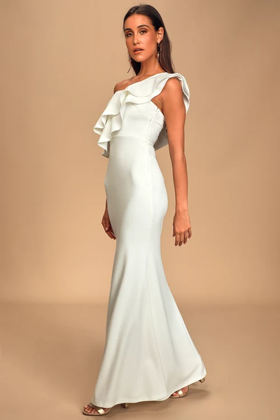 Grand Beauty White Ruffled One-Shoulder Mermaid Maxi Dress