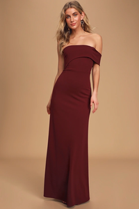 All Hearts On You Off-The-Shoulder Burgundy Maxi Dress