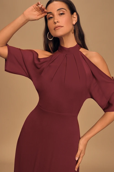Loving Moment Burgundy Cold-Shoulder Cutout Halter Maxi Dress