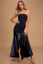 Enchanted Love Black Satin Strapless High-Low Maxi Dress