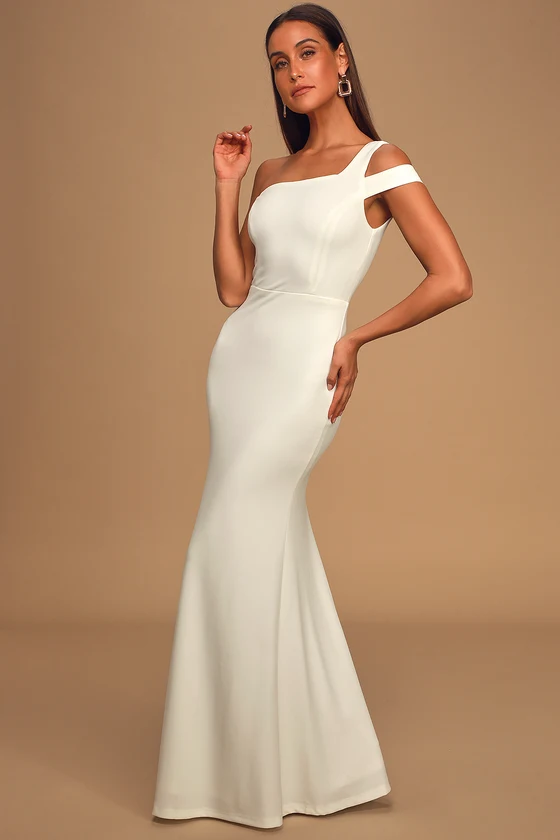 Make an Entrance White One-Shoulder Mermaid Maxi Dress
