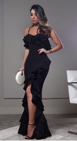 BLACK RUFFLED BANANA CREPE DRESS WITH SLIT
