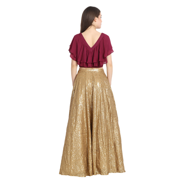 GOLDEN SEQUIN LENGHA WITH WINE RUFFLE CROP TOP AND CHUNNI