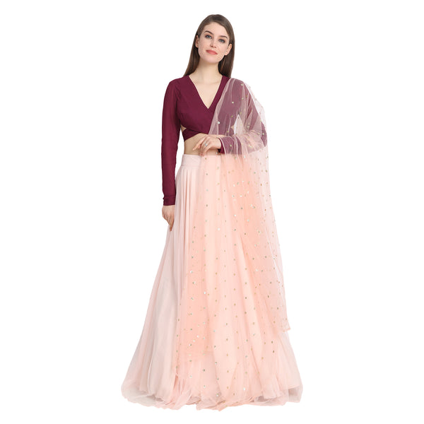 PEACH NET LENGHA WITH WINE BACK KNOT BLOUSE AND CHUNNI